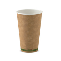 BioPak 16oz Single Wall Hot Cup - Kraft Brown - Sleeve of 50
