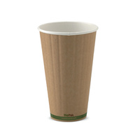 BioPak 16oz Double Wall Hot Cup - Kraft Brown - Sleeve of 40