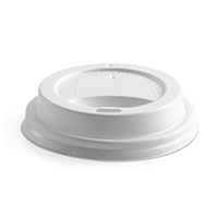 BioPak 12/16/20oz Bioplastic Hot Paper Cup Lid - White - Sleeve of 50