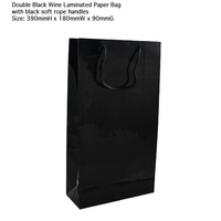 Gloss Laminated Bottle Bag Black Double 390x210+90 - Sleeve of 10