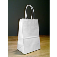 Paper Carry Bag White Medium with paper twist handle 460x380+120 - Sleeve of 50