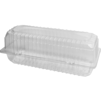 Clear Hinged Lid Long Roll Container - Sleeve of 100