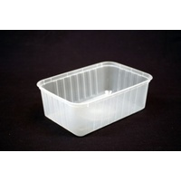 Genfac Rectangle Container 1000ml Ribbed Clear - Sleeve of 50