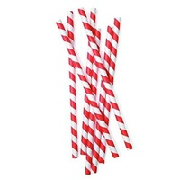 Paper Drinking Straw Striped Ctn 2500 - Packet of 250