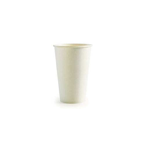 BioPak 16oz Single Wall Hot Cup - Plain White - Sleeve of 50