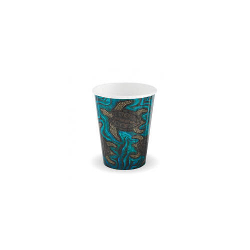 Biopak 8oz Double Wall Indigenous Art Series Hot Cup - Carton of 1000