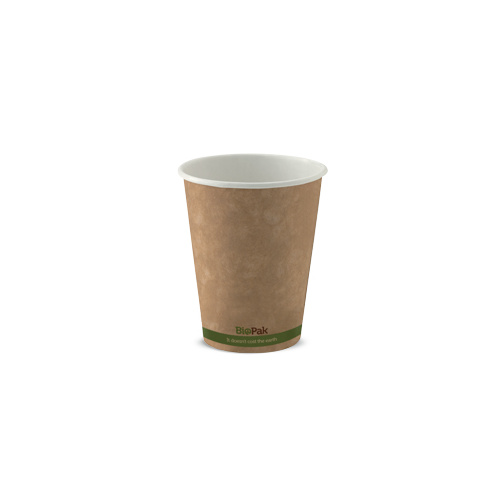 BioPak 8oz Single Wall Hot Cup - Kraft Brown - Sleeve of 50